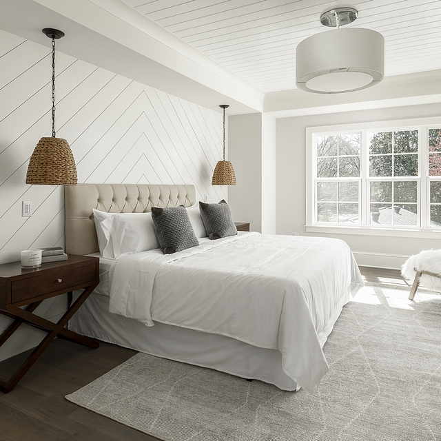 Bedroom with diagnonal shiplap accent wall and v groove ceiling The diagonal shiplap accentuates the recessed bed wall. If the shiplap isn't enough, we also put V-groove on the tray ceiling inset #Bedroom #diagnonalshiplap #shiplapaccentwall #shiplap #accentwall #vgroove