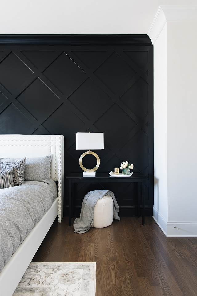 Crossed Inset Wall Paneling I used 1x4s over drywall and then a small cove molding around the edges The whole wall was then sprayed semi-gloss in black. The project cost is minimal on supplies but the layout took hours so labor cost is high Paint color is Benjamin Moore Black Crossed Inset Wall Paneling Crossed Inset Wall Paneling #CrossedInsetWallPaneling #CrossedInsetWallPanel #CrossedWallPanel
