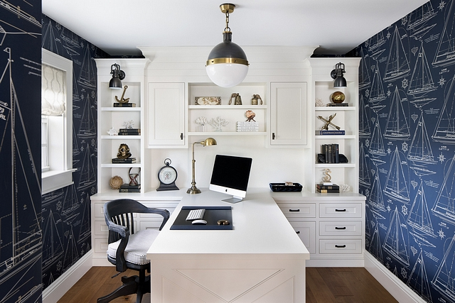 Coastal Home Office with Blue and white Wallpaper Home Office The office features Ralph Lauren sailboat wallcovering and custom boathouse inspired built in cabinets and desk #Coastal Home Office with Blue and white Wallpaper Home Office #CoastalHomeOffice #BlueandwhiteWallpaper #HomeOffice #builtins #cabinet #desk
