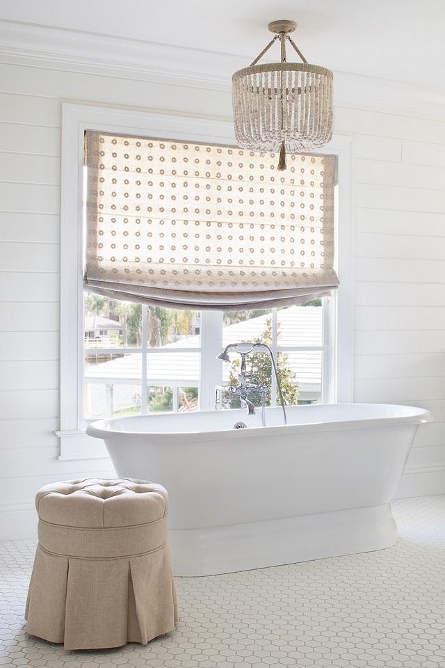 Benjamin Moore White Dove shiplap bathroom with RO SHAM BEAUX SOAPSTONE BEADS AND HEMP chandelier #benjaminmoorewhitedove