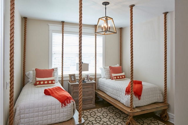 Rope hanging Bed Coastal cottage with Ceiling Rope hanging Beds Rope hanging Bed Beds Rope hanging Beds #RopehangingBed #coastal #cottage #bedroom #hangingBed