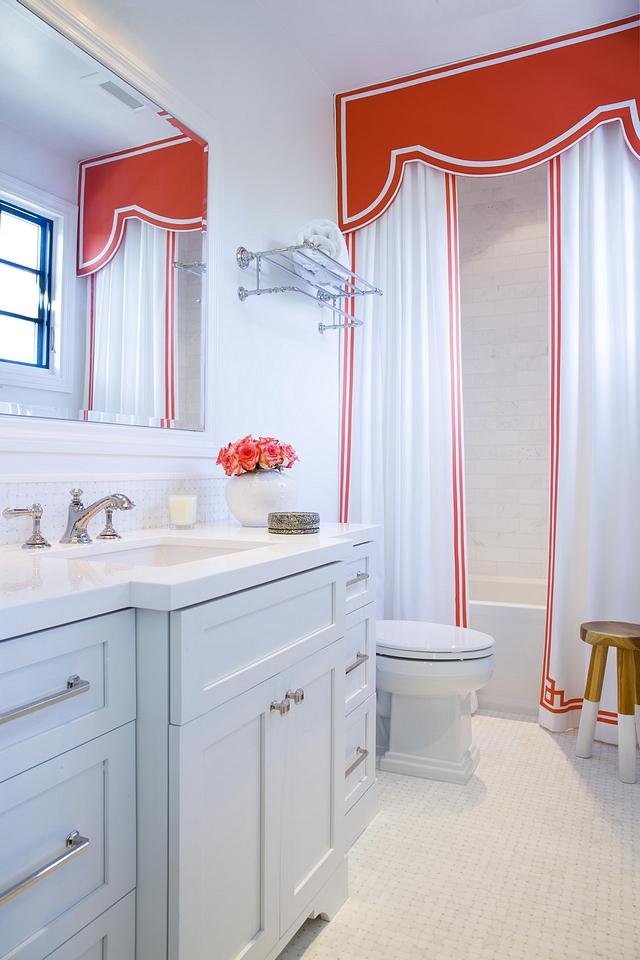 Girls Bathroom The girl's bathroom features custom shower curtains with cornice Shower curtains with cornice Shower curtains with cornice #Showercurtains #cornice