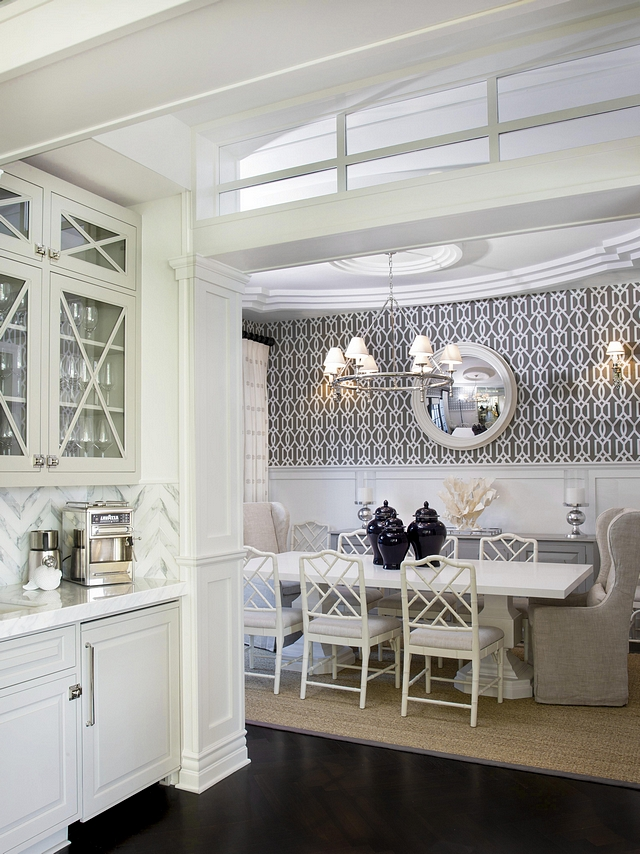 Dining Room This dining room and butler's pantry layout is classic and very practical. Notice the incredible millwork this entire space features #diningroom #millwork #butlerspantry