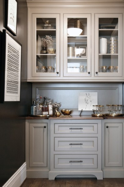 butlers pantry kitchen cabinets Warm White Kitchen Design & Gray Butler's Pantry - Home