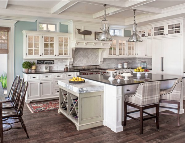 coastal kitchens with white cabinets Coastal Cape Cod Home - Home Bunch Interior Design Ideas