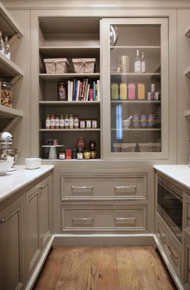 Warm White Kitchen Design  Gray Butlers Pantry  Home