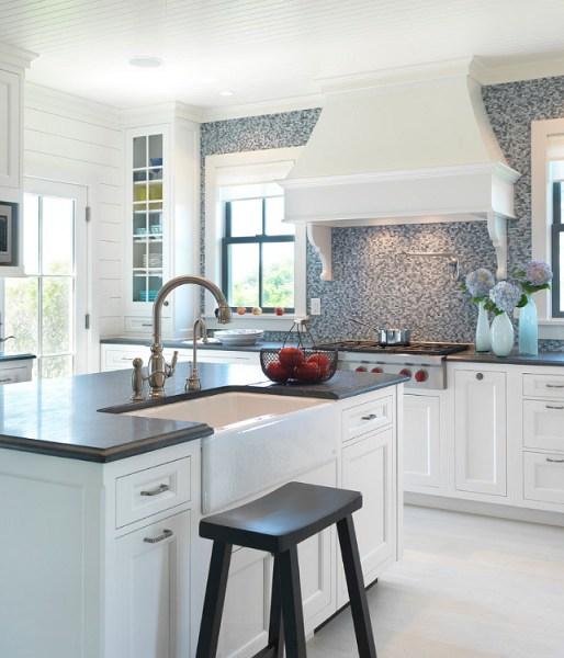 beach house kitchen backsplash Nantucket Beach Cottage with Coastal Interiors - Home