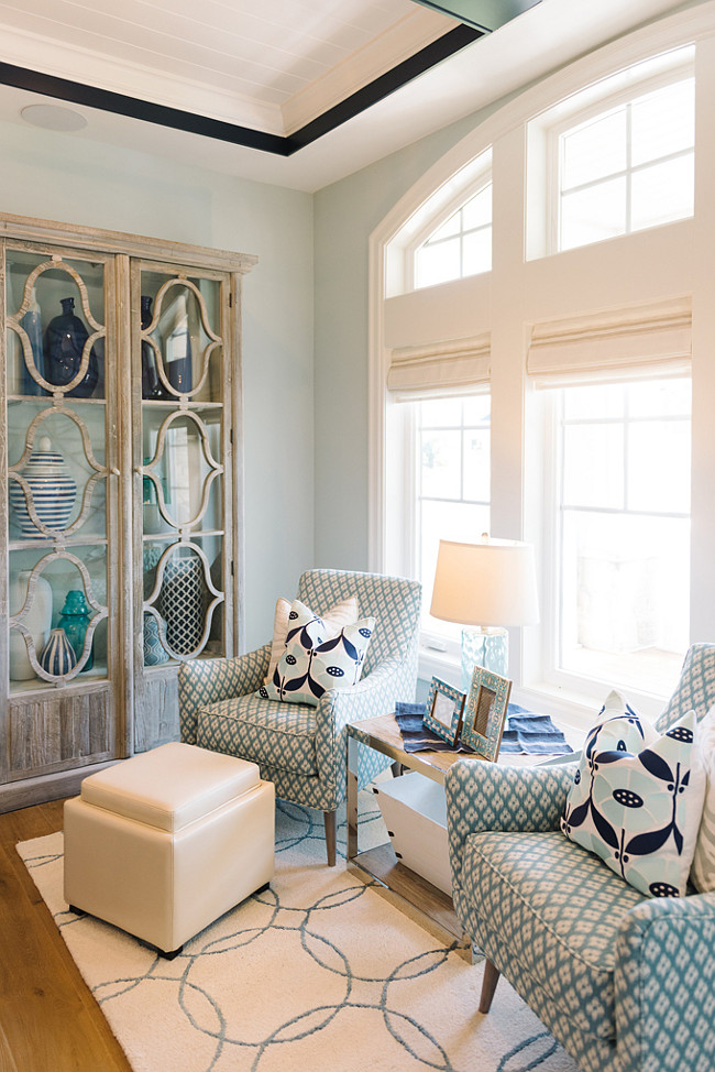 Living Room Chais. Blue living room with navy and turquoise decor and chairs. #Livingroom #Chairs Four Chairs Furniture.