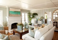 Small Beach Cottage Living Room With Firep - Best site ...