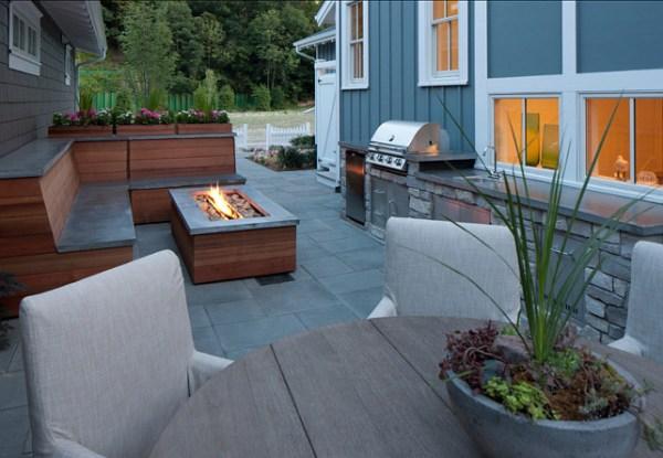 small backyard patio design ideas Transitional Small Home with Coastal Interiors - Home
