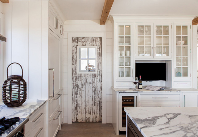 Reclaimed Door. Kitchen with reclaimed door. White kitchen with reclaimed door. Cottage kitchen with reclaimed pantry door. #Kitchen #reclaimed #Door #WhiteKitchen
