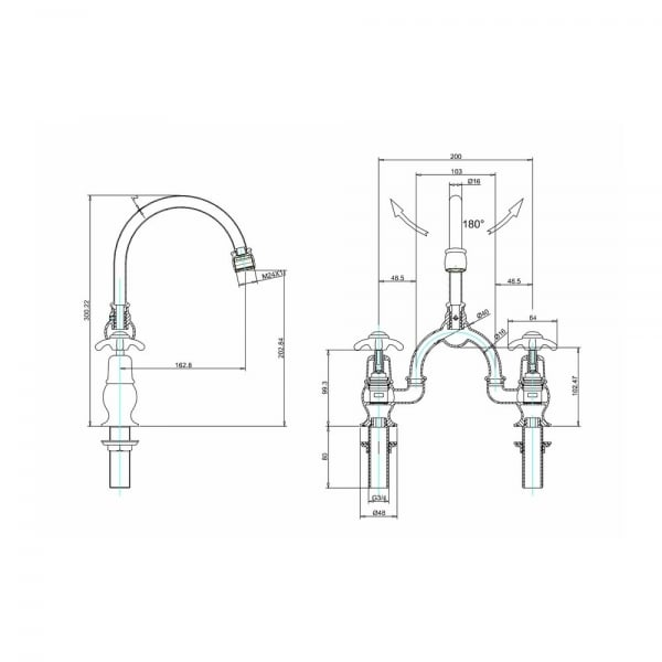 Anglesey Bridge Basin Mixer Tap 200mm centres with Curved