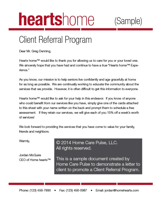 Client Referral Program Letter Sample Template Home Care