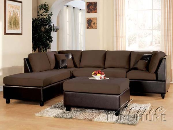 acme sectional sofa chocolate replace cushions with memory foam ashland easy rider bycast set by 10110 larger photo