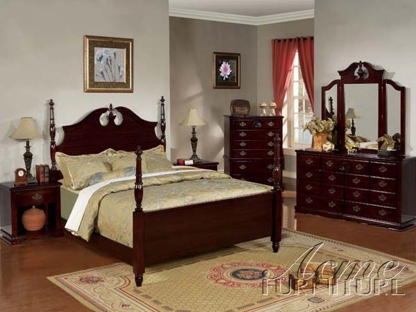savannah 6 piece post bedroom set in dark cherry finish by acme