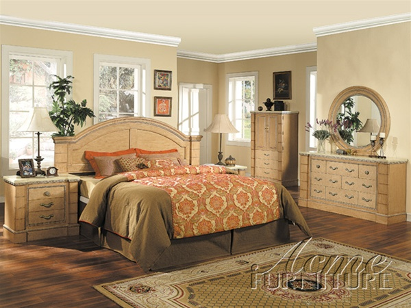Marble Top 6 Piece Mystic Bedroom Set in Maple Finish by