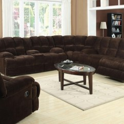 Home Theater Reclining Sectional Sofa Yellow Velvet Bed Ahearn Chocolate Microfiber 3 Piece By ...