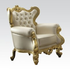 White And Gold Chair Renting Tables Chairs Jules Neo Classic Accent By Acme 59220 Larger Photo
