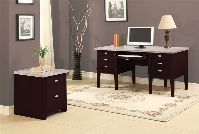 Britney Marble Top Home Office Desk in Espresso Finish by