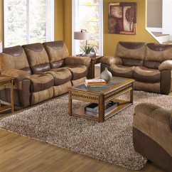 2 Piece Brown Leather Sofa Top Quality Sleeper Portman Reclining Loveseat Set In Two Tone Larger Photo