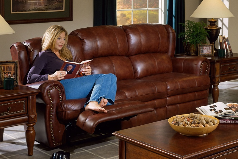 Buckingham Chestnut Leather Dual Reclining Sofa by