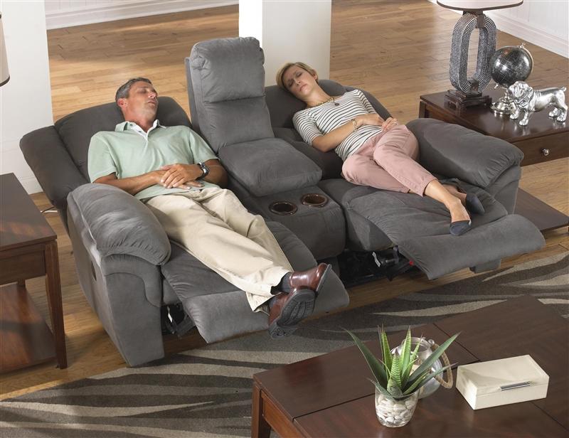 Joyner Lay Flat Reclining Sofa with Drop Down Table in