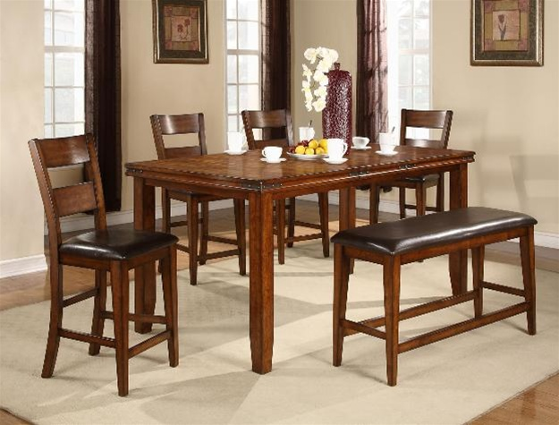 Figaro 6 Piece Counter Height Dining Set In Cherry Finish