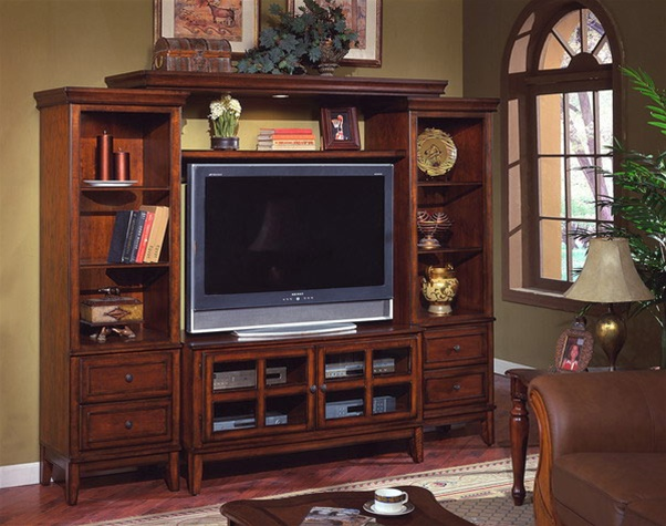 Hawthorne 4 Piece Entertainment Center in Cherry Finish by