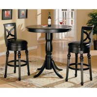 Black Finish Round Top Counter Height 3 Piece Bar Table ...