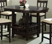 5 Piece Round Counter Height Table Set in Dark Cherry ...