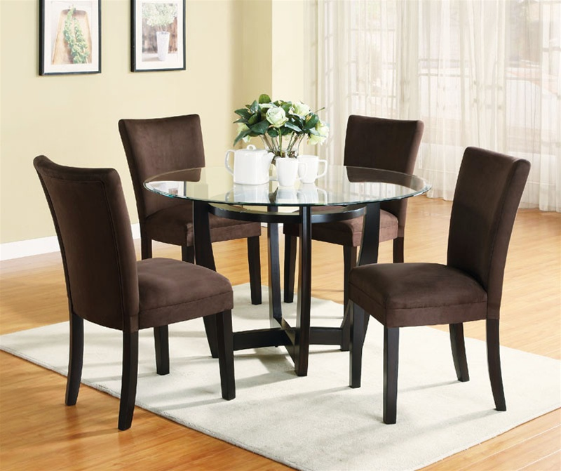 5 Piece Dinette Set With Round Glass Table Top In Cappuccino Finish By Coaster 101490ch