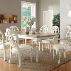 Antique White Dining Chairs Desk Chair Officeworks Rebecca 7 Piece Set In And Oak Two Tone Coa 104241 3 Jpg