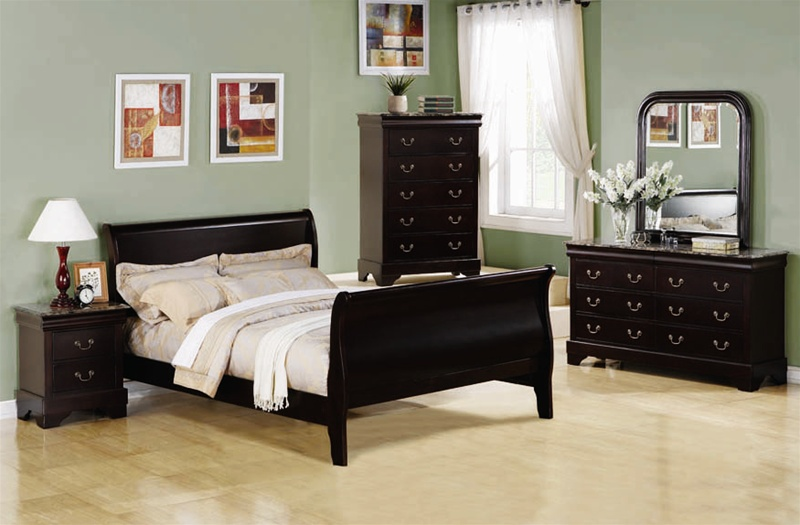 Louis Philippe 6 Piece Bedroom Set in Cappuccino Finish