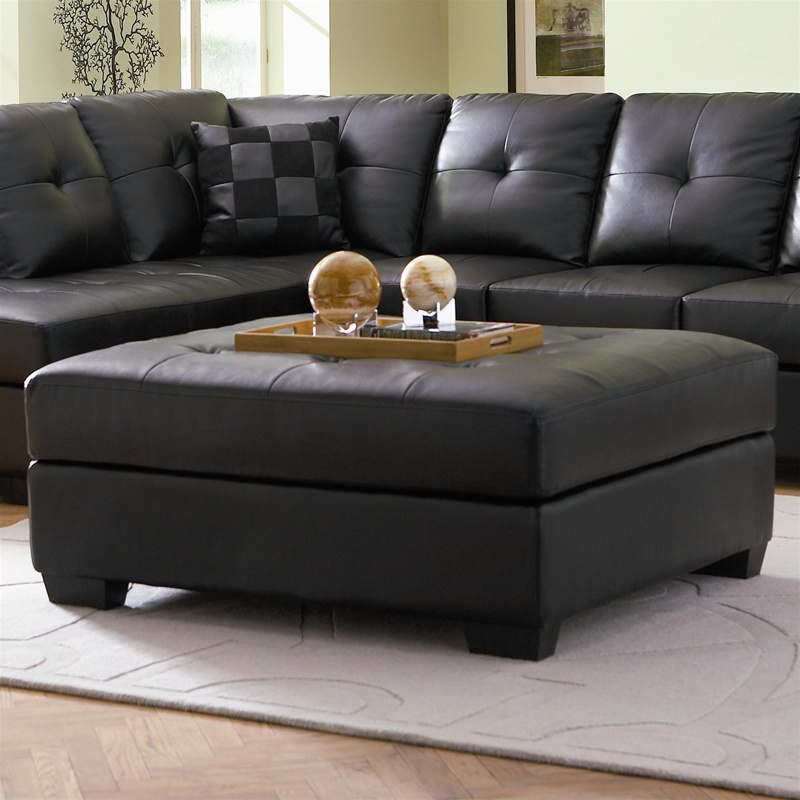 darie black leather ottoman by coaster 500607