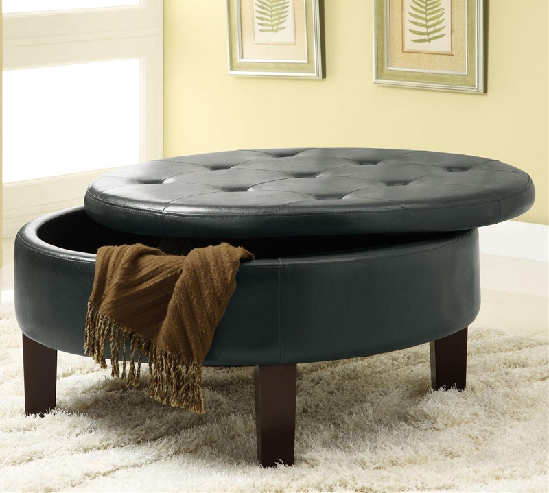 round black upholstered storage ottoman by coaster 501010