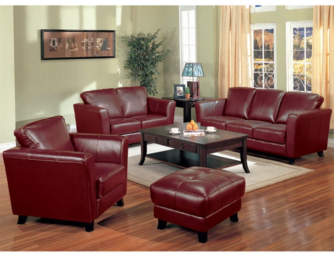 Brady Red Brown Leather Living Room Set By Coaster 501241