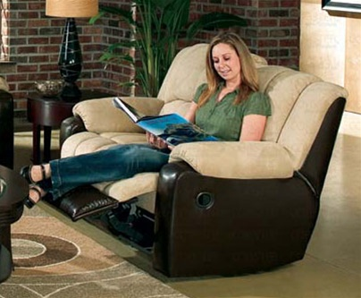 tempo double reclining loveseat in two tone cover combination by coaster 550312