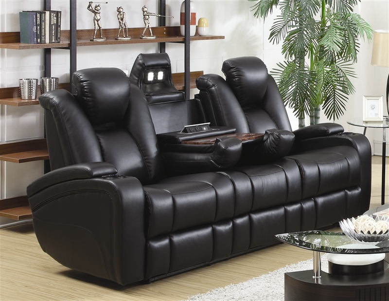 2 piece brown leather sofa king chattanooga menu element power recline set in black upholstery by coaster 601741p s