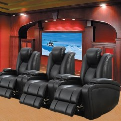 Theater Chairs Home Entertainment Parsons Chair Covers Uk Element 3 Piece Power Seating In Black Leather Upholstery Larger Photo