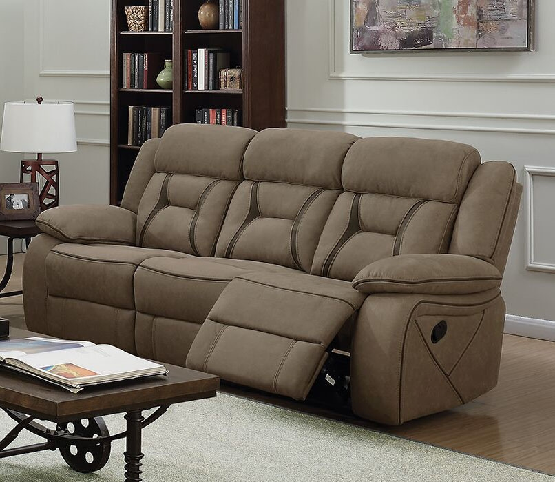 houston reclining sofa in tan microfiber upholstery by coaster 602264