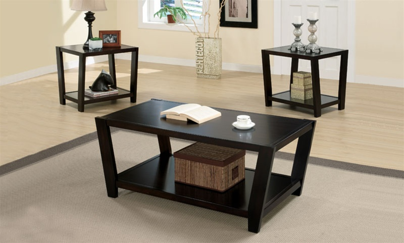 3 piece occasional table set in rich dark cappuccino finish by coaster 701510