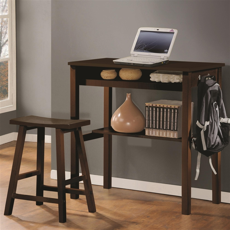 Counter Height Wood Desk  Stool in Espresso Finish by