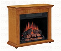 Rolling Electric Fireplace Mantel in Oak Finish by Coaster ...