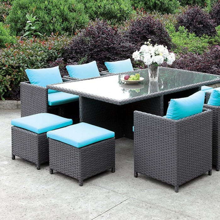 ashanti 11 piece patio dining table set in light brown by furniture of america foa cm ot2127