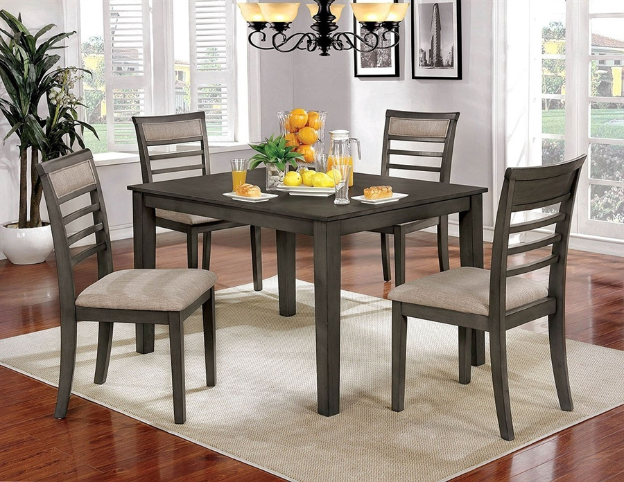 Fafnir 5 Piece Dining Room Set In Weathered Gray Beige Finish By Furniture Of America Foa Cm3607t 5pk
