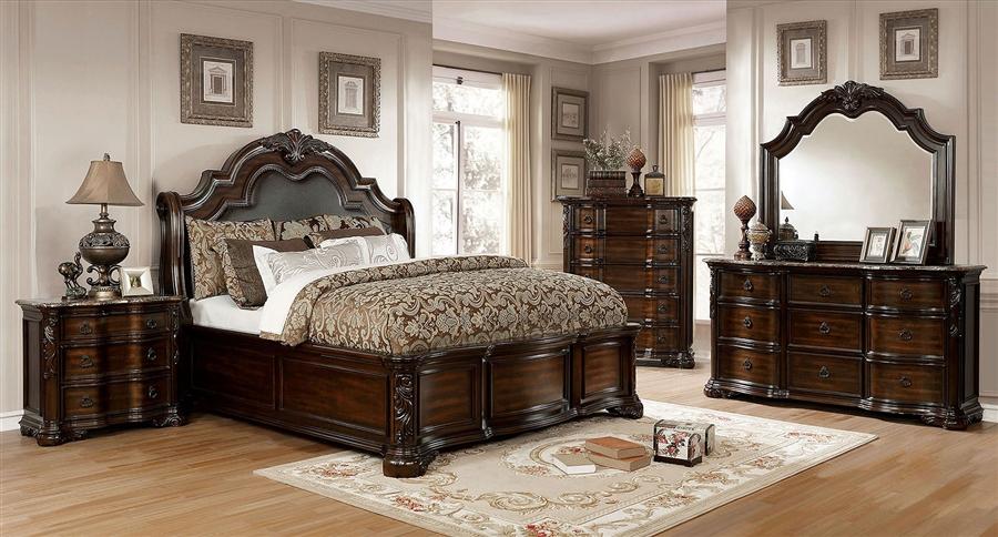 niketas 6 piece bedroom set in brown cherry espresso finish by furniture of america foa cm7860