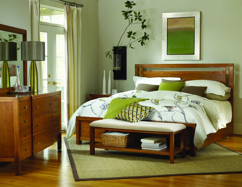 panel bed 6 piece bedroom set in natural cherry finish by hooker