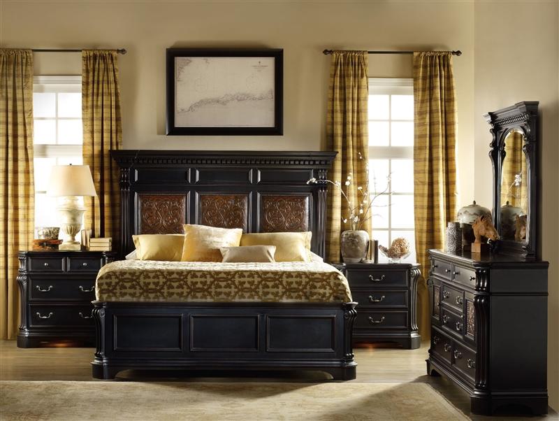 Telluride 6 Piece Bedroom Set in Distressed Black Finish
