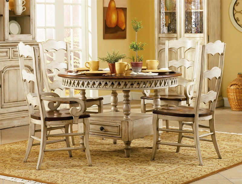 white ladder back chairs atlanta recliner chair summerglen 5 piece round dining table with three rung ladderback in two-tone off ...