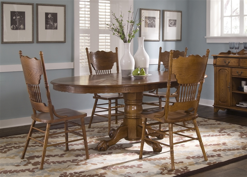 And Pedestal Press Back Table Oak Chairs